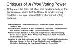 critiques of a priori voting power