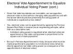 electoral vote apportionment to equalize individual voting power cont