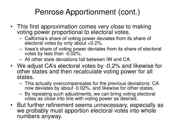 Penrose Apportionment (cont.)