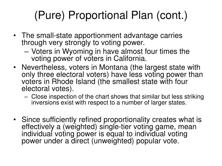 (Pure) Proportional Plan (cont.)