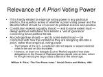 relevance of a priori voting power