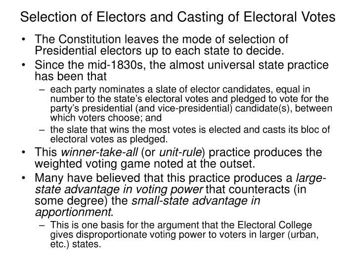 Selection of Electors and Casting of Electoral Votes