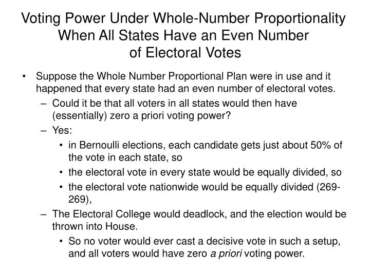 Voting Power Under Whole-Number Proportionality When All States Have an Even Number