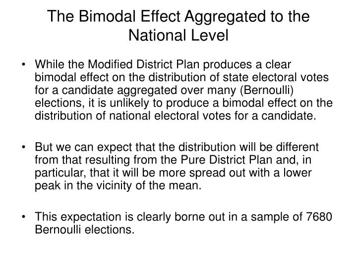 The Bimodal Effect Aggregated to the National Level
