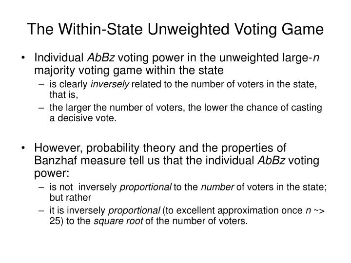 The Within-State Unweighted Voting Game