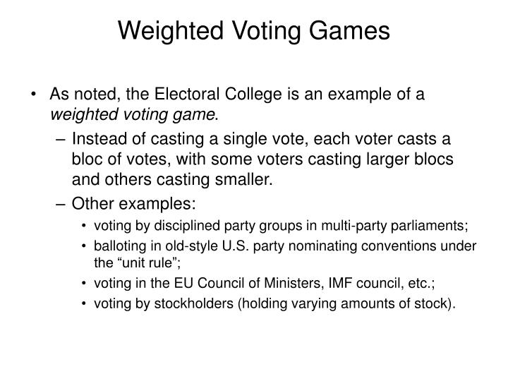 Weighted Voting Games
