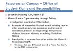 resources on campus office of student rights and responsibilities
