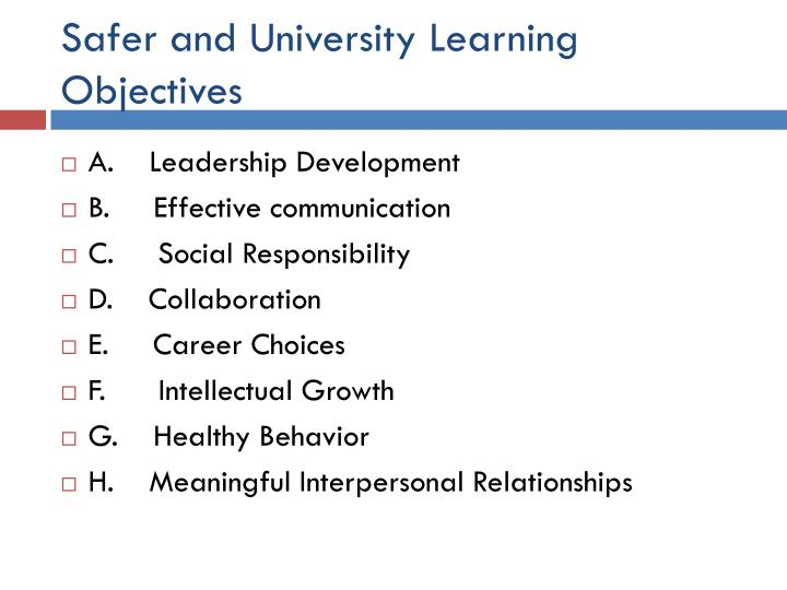 Safer and University Learning Objectives