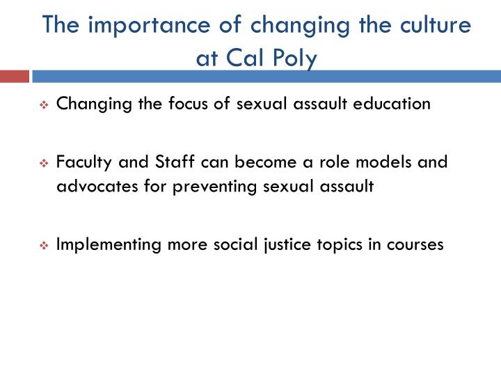 The importance of changing the culture at Cal Poly