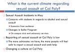 what is the current climate regarding sexual assault at cal poly