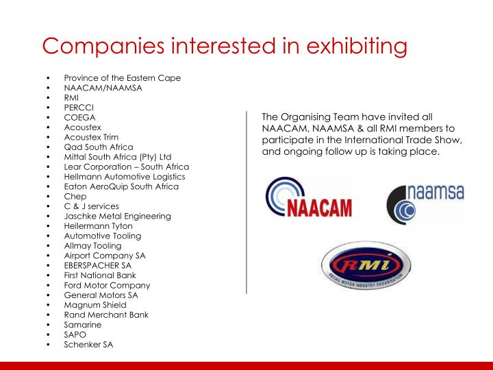 Companies interested in exhibiting