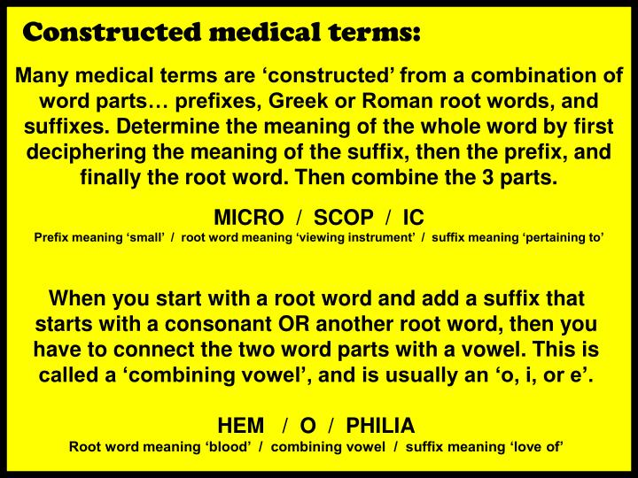 Constructed medical terms: