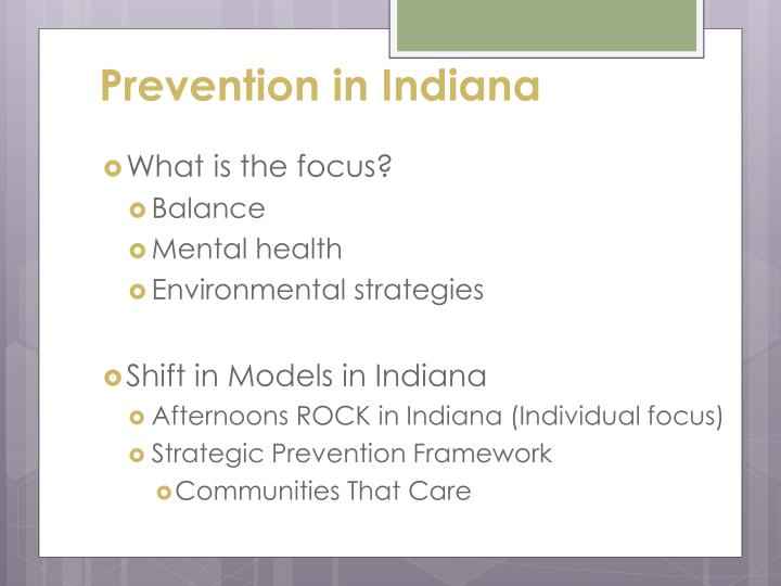 Prevention in Indiana