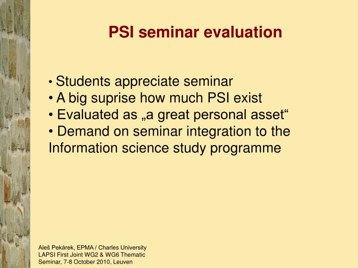 PSI seminar evaluation
