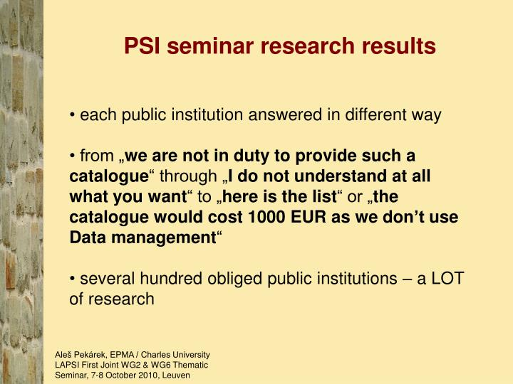 PSI seminar research results
