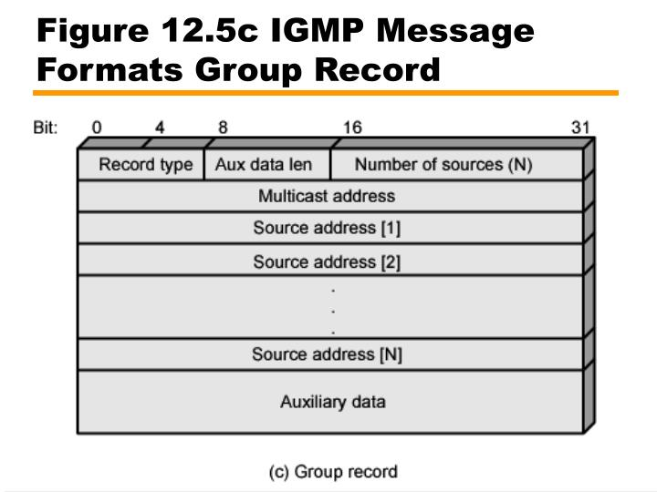 Figure 12.5c IGMP Message Formats Group Record