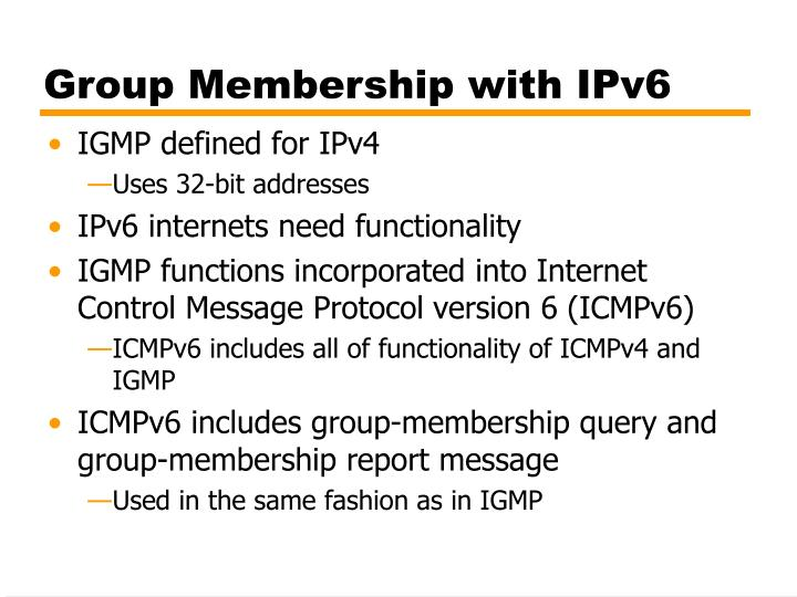 Group Membership with IPv6