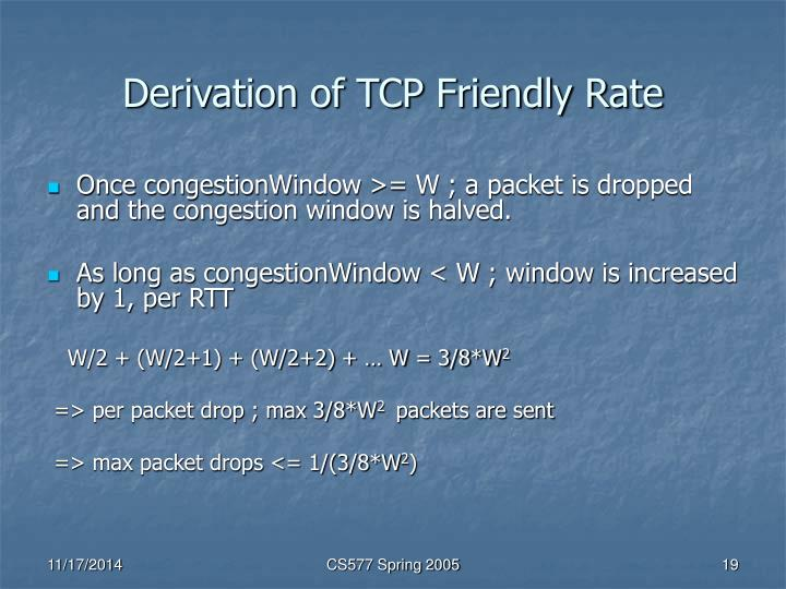 Derivation of TCP Friendly Rate