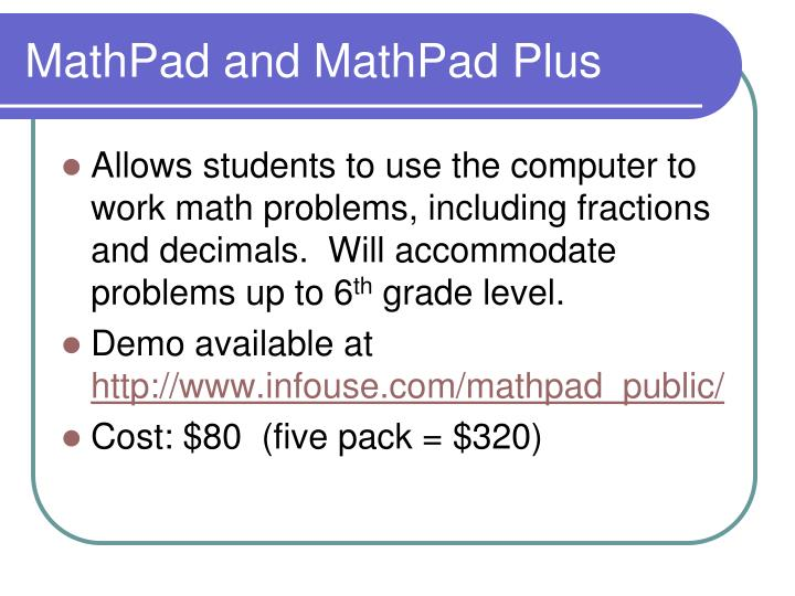 MathPad and MathPad Plus