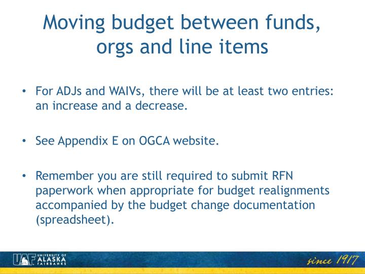 Moving budget between funds, orgs and line items
