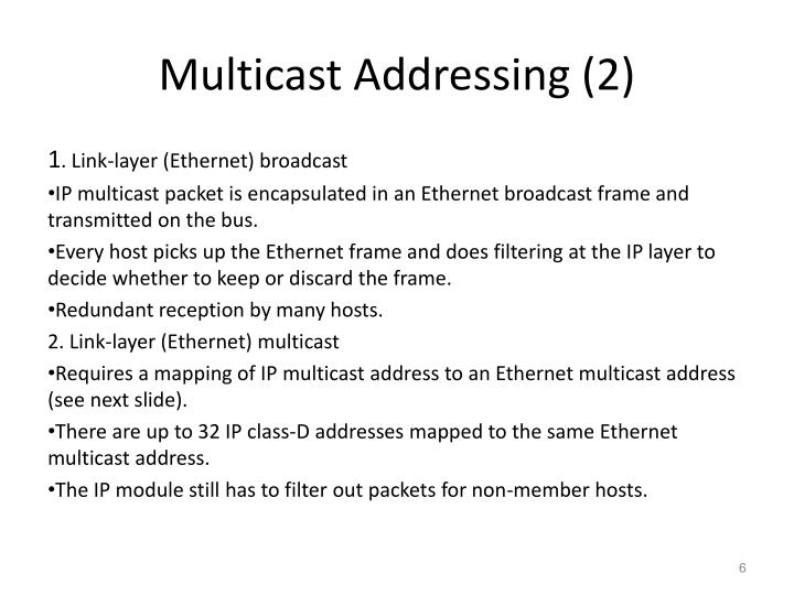 Multicast Addressing (2)