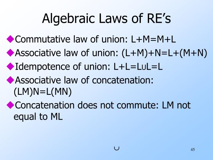 Algebraic Laws of RE's