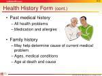 health history form cont