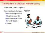 the patient s medical history cont