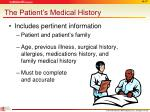 the patient s medical history