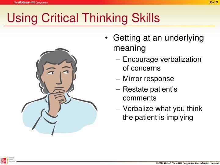 Using Critical Thinking Skills