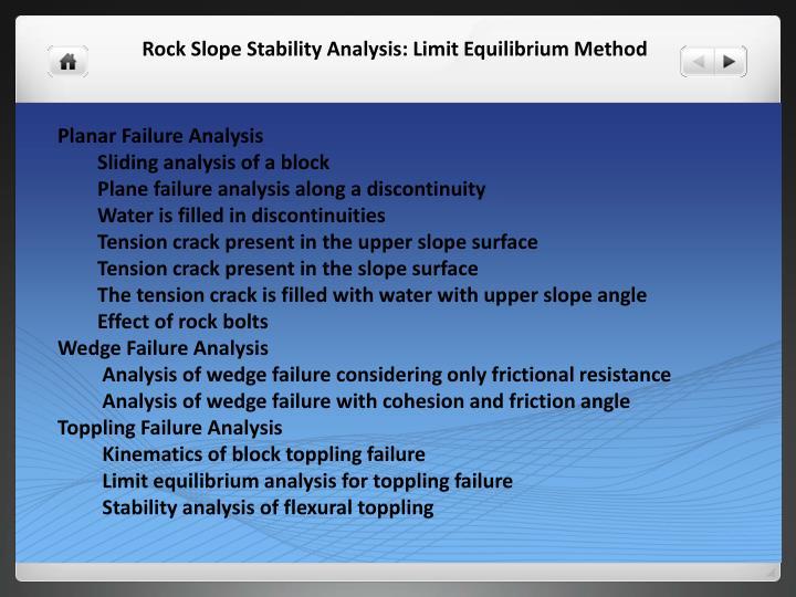 Planar Failure Analysis