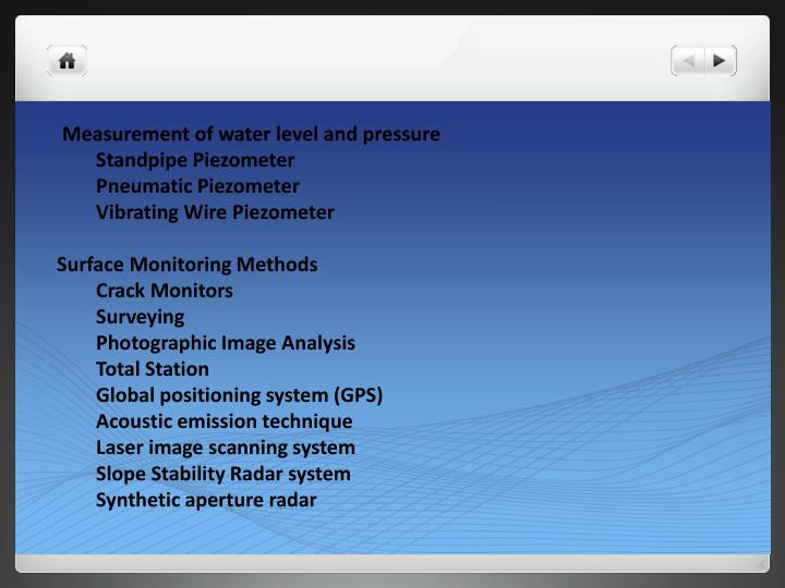 Measurement of water level and pressure