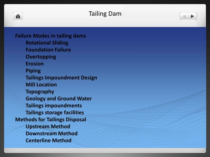 Failure Modes in tailing dams