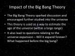 impact of the big bang theory