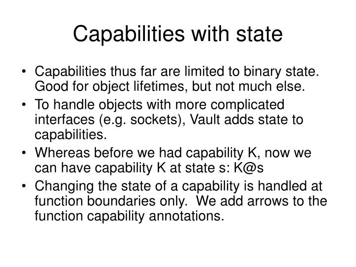 Capabilities with state