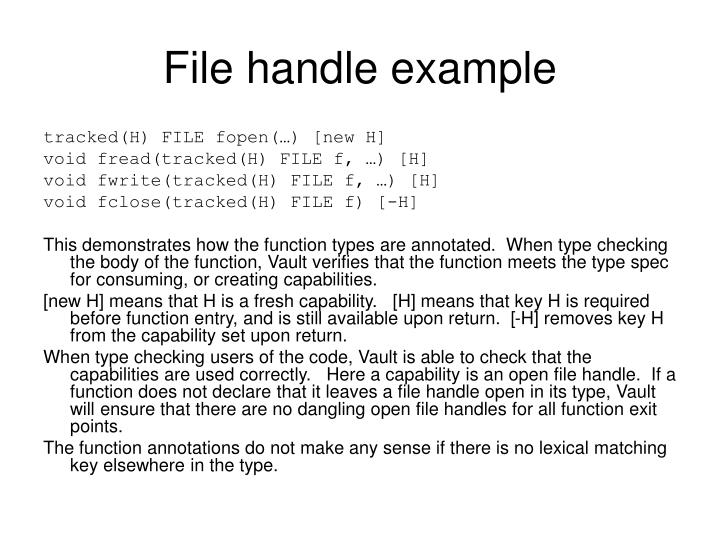 File handle example