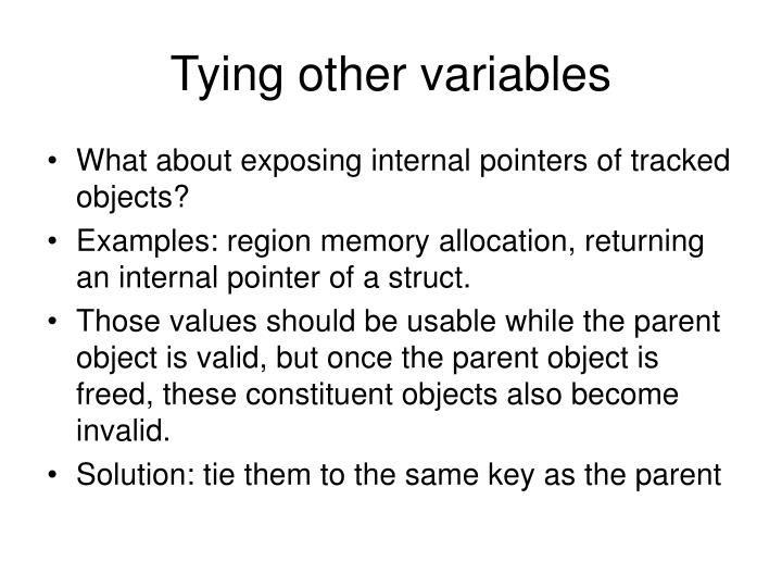 Tying other variables