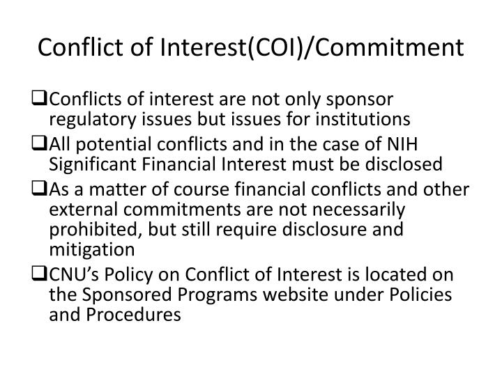 Conflict of Interest(COI)/Commitment
