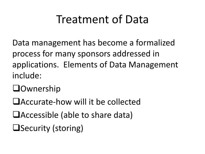 Treatment of Data