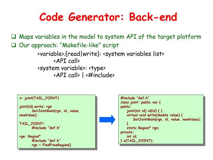 Code Generator: Back-end