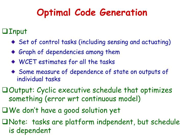 Optimal Code Generation