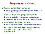 programming in charon