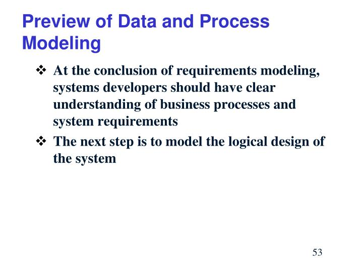 Preview of Data and Process Modeling