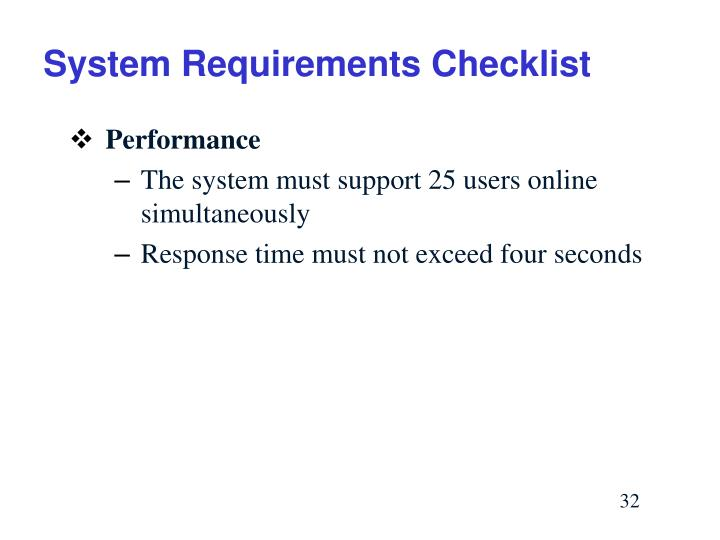 System Requirements Checklist