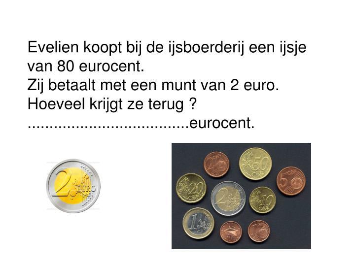 Evelien koopt bij de ijsboerderij een ijsje van 80 eurocent.