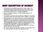 brief description of incident