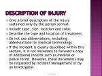 description of injury