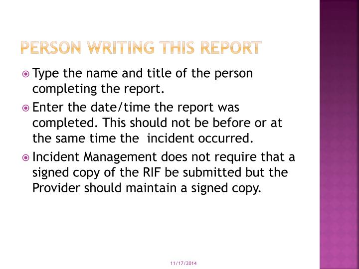 Person Writing this Report