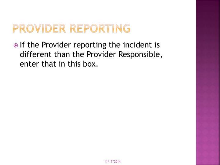 Provider Reporting