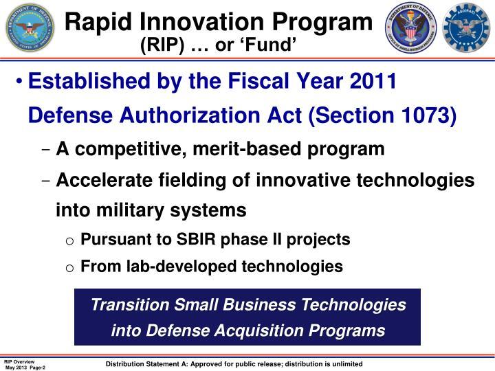 Rapid Innovation Program